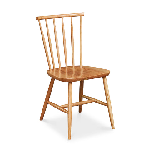 Modern spindle chair with round crest in cherry wood