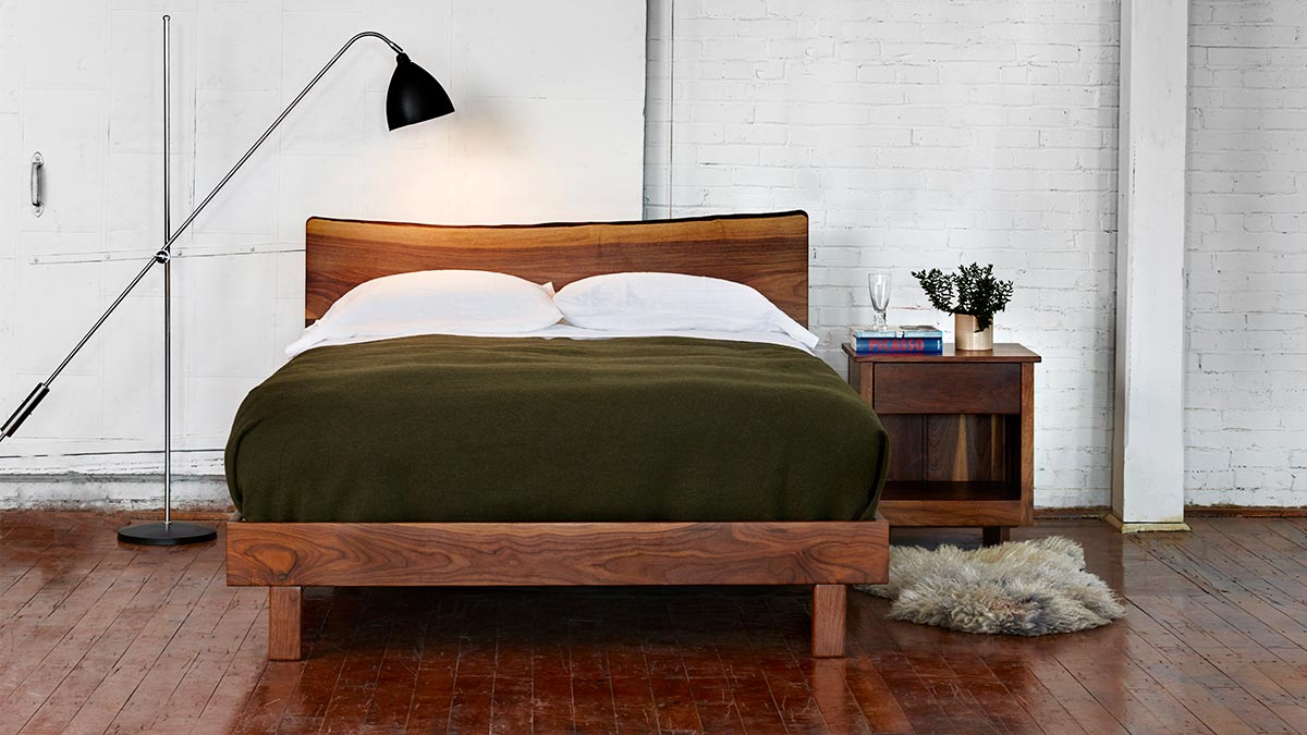 Chilton's Acadia bed, an original design celebrating a Japanese aesthetic.
