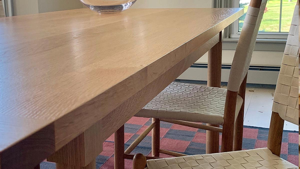 Detail of Chilton's Revelry Dining Table, shown with Tappan Taped Back Chairs.  An example of both Shaker and Scandinavian influences.