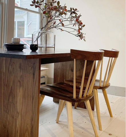 Shown above - our original Hygge Dining Table in walnut with walnut and ash Boston Chairs