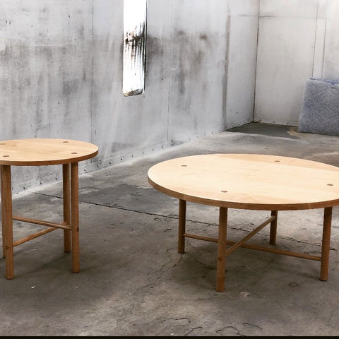 Our original and new Navarend Side and Coffee tables in hard maple.
