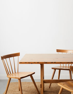 White oak Boston chair paired with reclaimed white oak North dining table