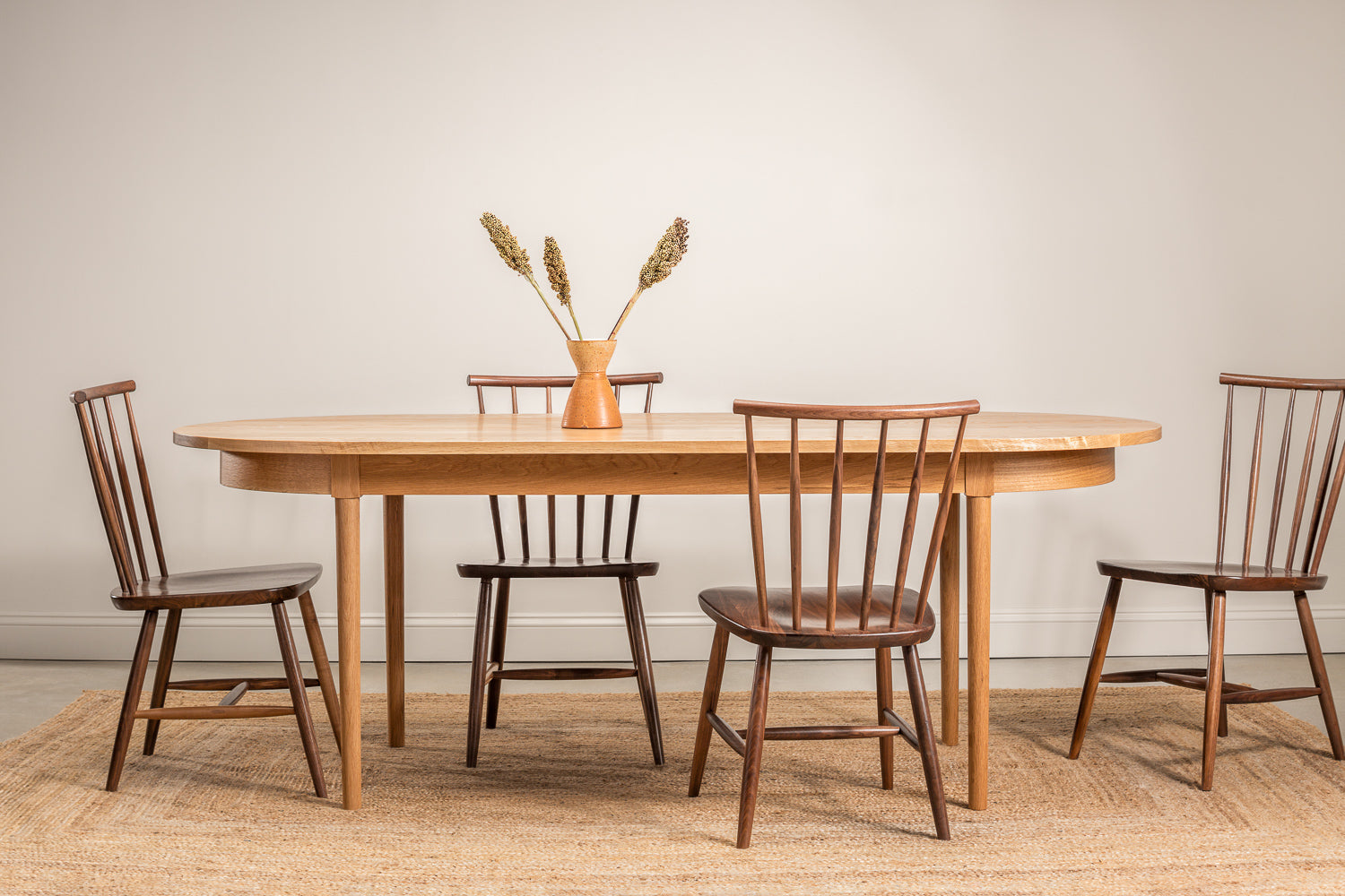 Highland cherry solid wood oval dining table from Chilton Furniture.
