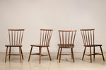 Four walnut Concord chairs shown in every angle