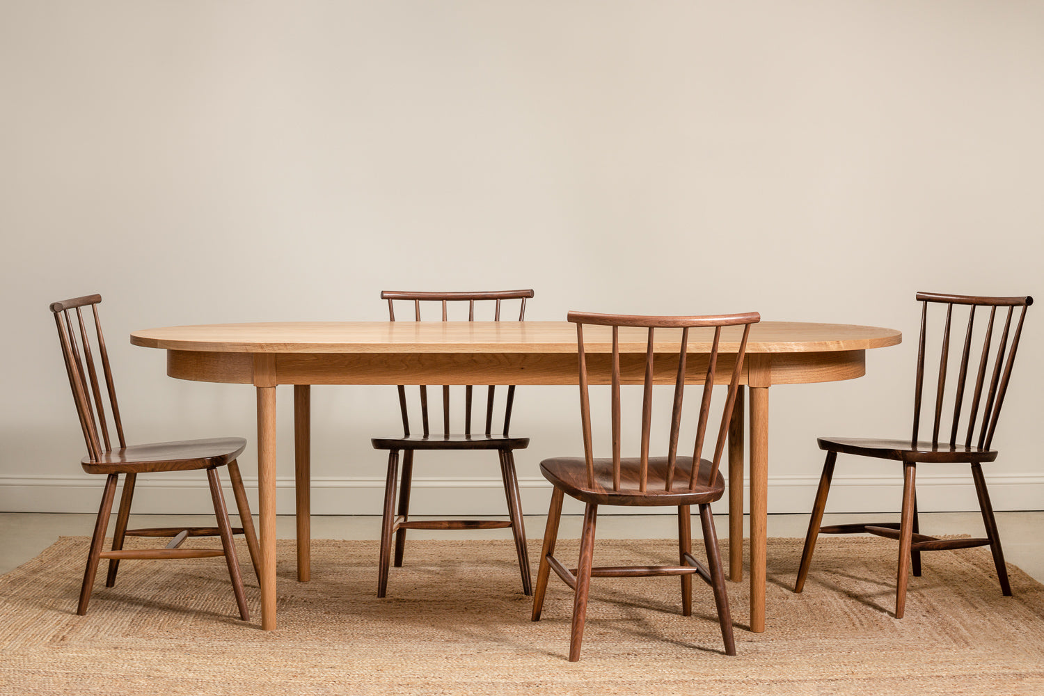 Walnut Concord chairs around white oak Highland Table from Chilton Furniture Co.