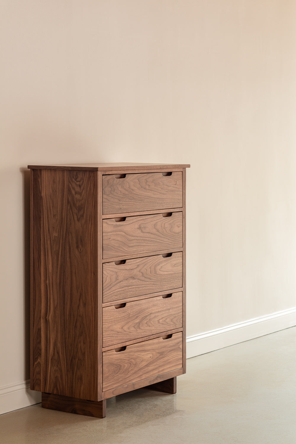 Modern five drawer Foundation Chest in walnut wood from Chilton Furniture Co.