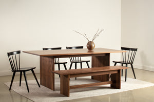 Modern Hygge Bench and Dining Table in walnut with black Windsor inspired Boston Chairs