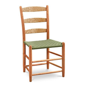Classic Shaker style dining chair with three slat ladder back, in cherry and maple with woven seat tape