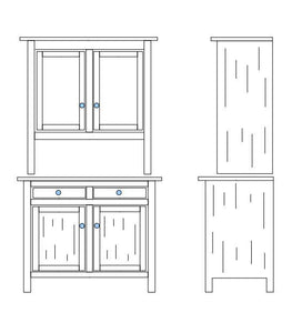 Black and white drawing of 2 door Shaker Hutch