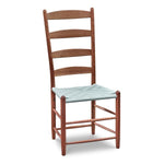 Classic Shaker style dining chair with four slat ladder back, in walnut with woven seat tape