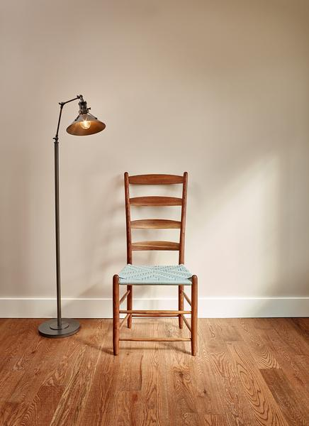 Classic Shaker style dining chair with four slat ladder back, styled with metal floor lamp