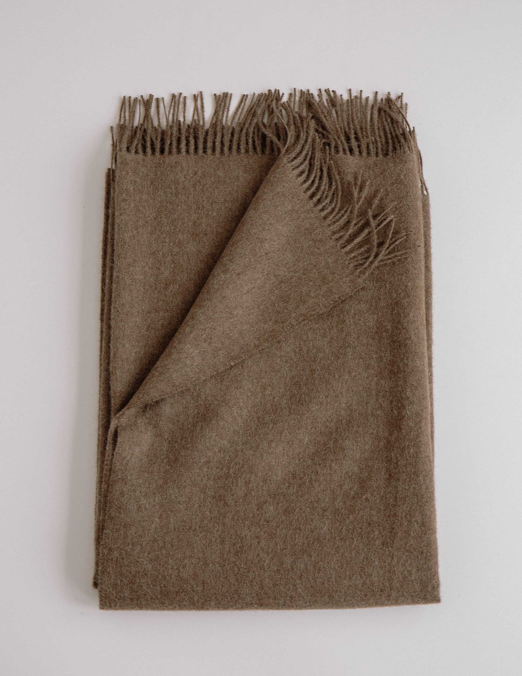 Soft brown alpaca throw blanket
