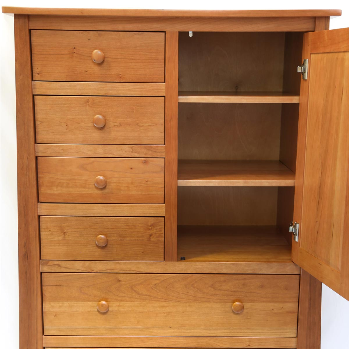 Open door on Bangor Gentleman's Chest showing shelving storage
