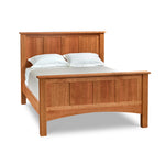 Bethel panel bed in solid cherry wood with squared legs and tall headboard and footboard