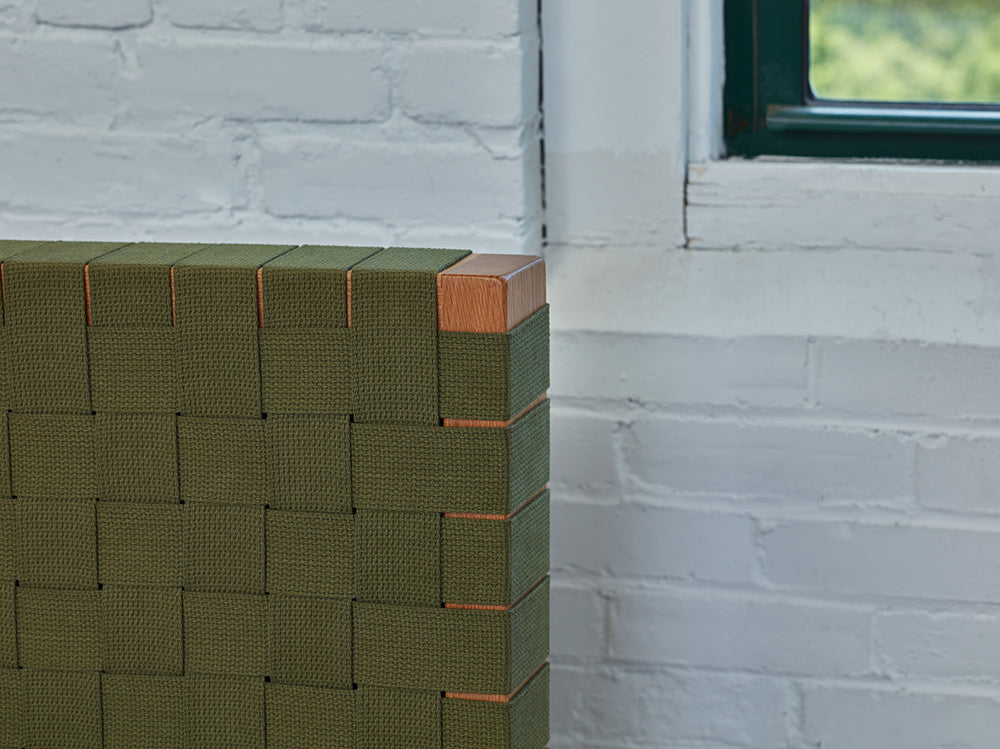 Detailed look at green woven Shaker tape headboard of Chilton Furniture's MS2 bed