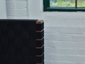Detailed look at black woven Shaker tape headboard of Chilton Furniture's MS2 bed