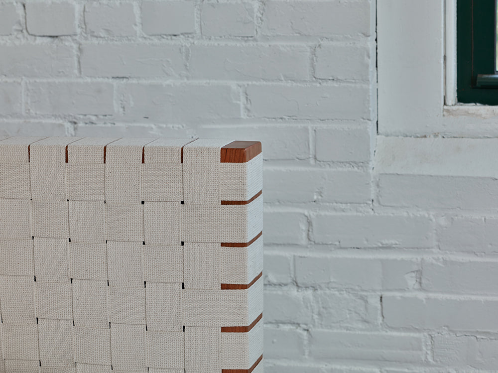 Detailed look at white woven Shaker tape headboard of Chilton Furniture's MS2 bed