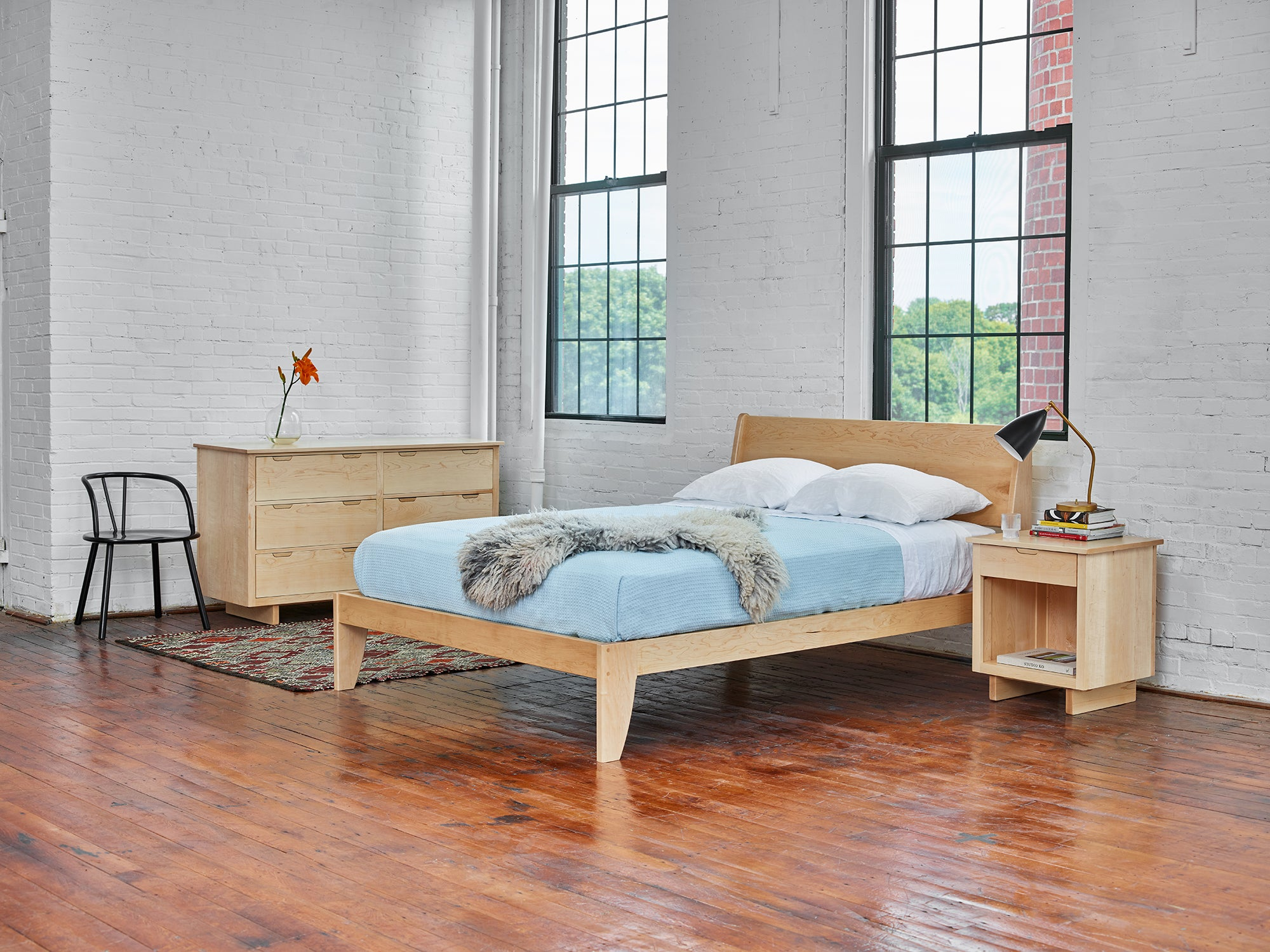 Modern bedroom with hard maple wood Foundation Line and Mysa bed, from Maine's Chilton Furniture Co.