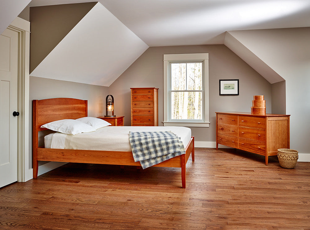 Bedroom with Shaker style, cherry wood bedroom collection from Maine's Chilton Furniture Co.