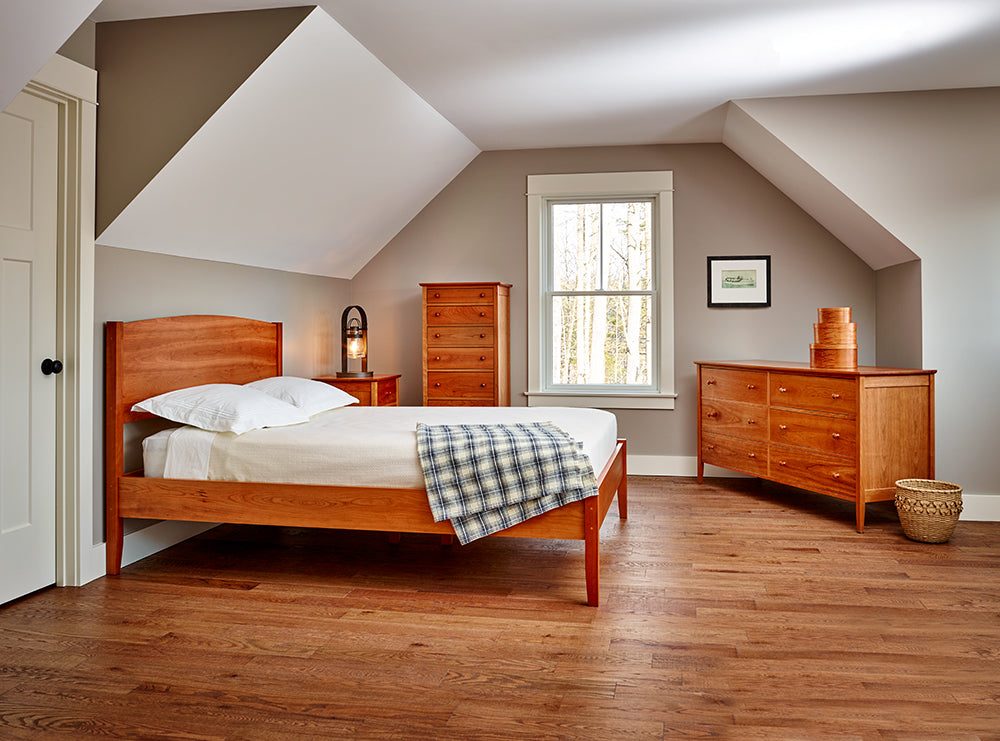 Classically styled bedroom with Shaker cherry wood bedroom collection from Maine's Chilton Furniture Co.