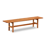 Modern trestle bench with visible joinery in cherry, from Maine's Chilton Furniture Co.