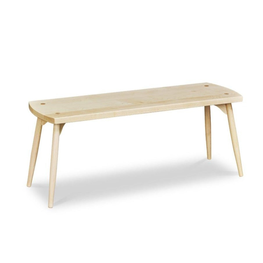 Davis Bench in maple with round tapered post legs