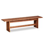 Bench with panel style trestle legs built in walnut wood.