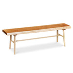 Cherry live edge bench with maple round turned legs
