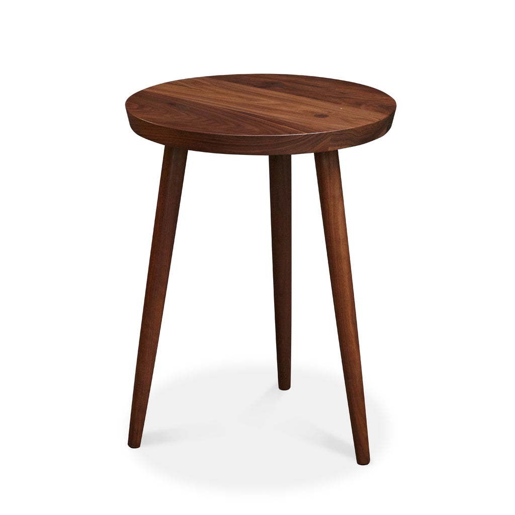 Modern round walnut nightstand with three round tapered legs