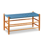 Classic Shaker style bench in cherry wood with blue woven seat tape