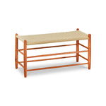 Classic Shaker style bench in cherry wood with beige woven seat tape