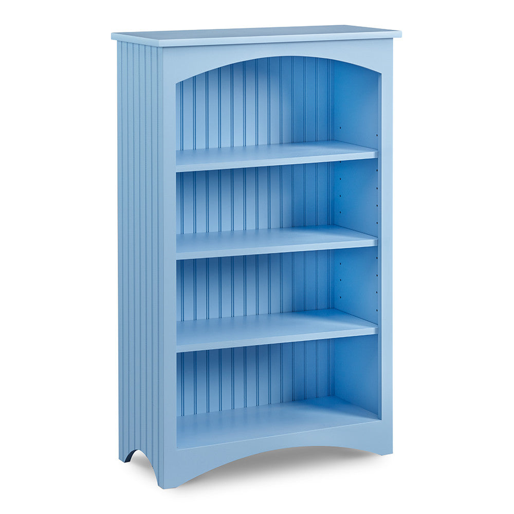 Cottage Bookcase with four shelves and bead board sides, in cottage Windy Sky paint color