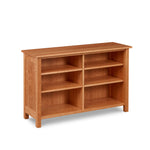 Shaker inspired solid cherry wood bookcase with center median and four shelves, from Maine's Chilton Furniture Co.