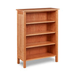Shaker inspired solid cherry wood bookcase with three shelves, from Maine's Chilton Furniture Co.