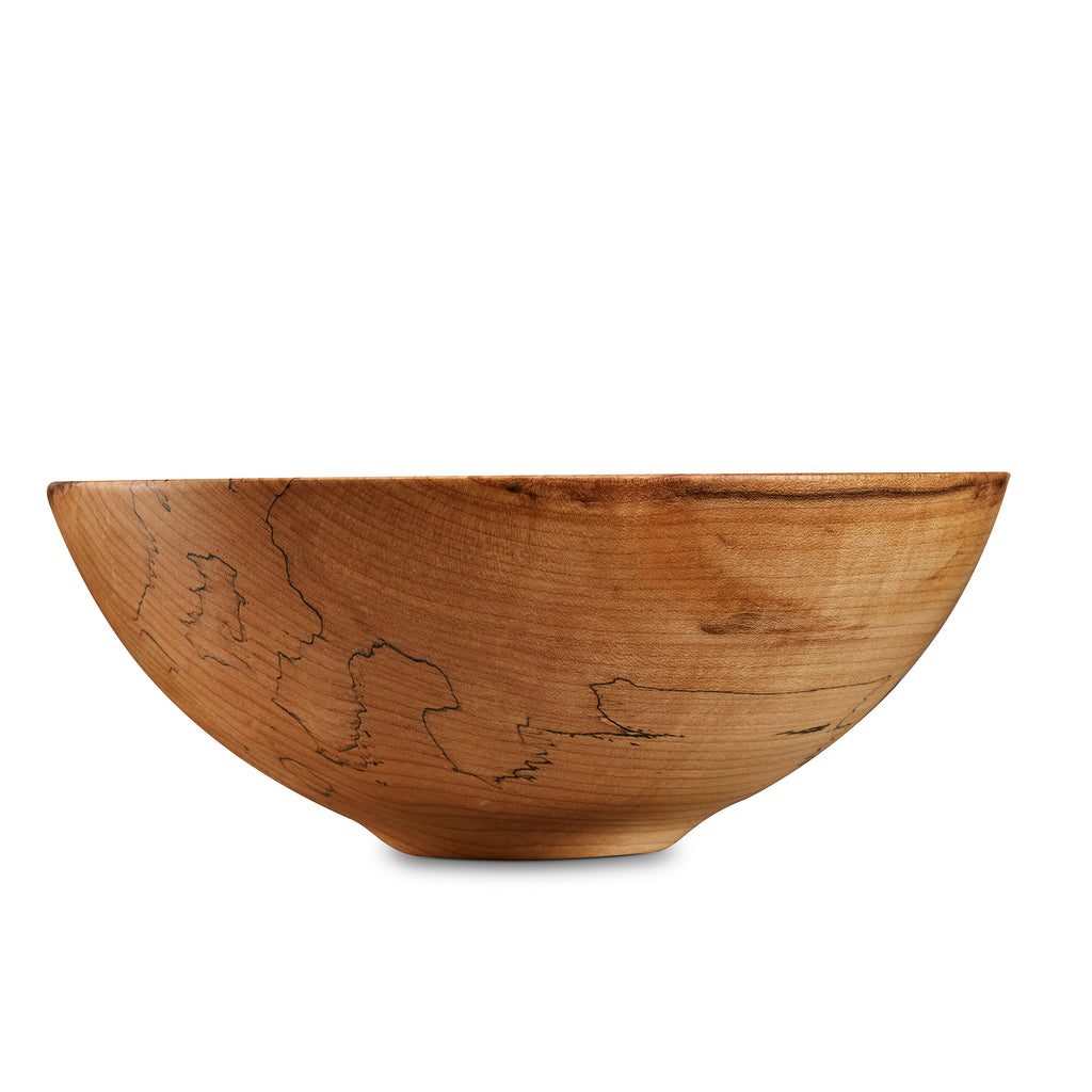 Light colored hard maple wooden bowl