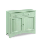 Cottage Linen Press in seaweed color paint with bead board panels and two drawers over two doors