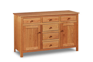 Traditional Buffet inspired by Shaker style with six drawers and two doors, built in cherry wood