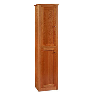 Tall and narrow Shaker Chimney Cupboard, with two stacked doors, in cherry wood, from Chilton Furniture Co.
