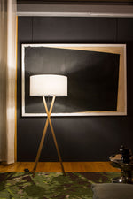 Modern living room furnished with Cala floor lamp