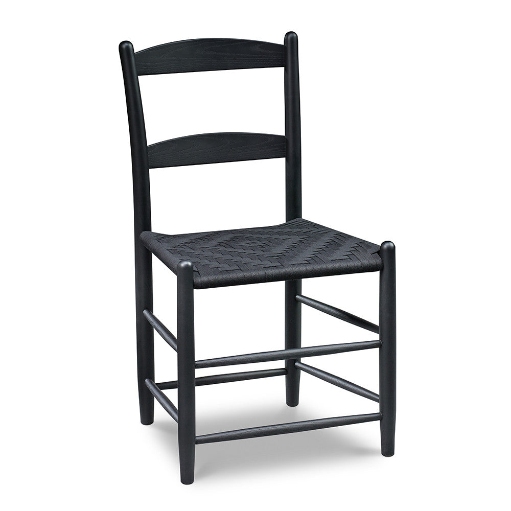 Classic Shaker style dining chair with two slat ladder back, in black with black woven seat tape