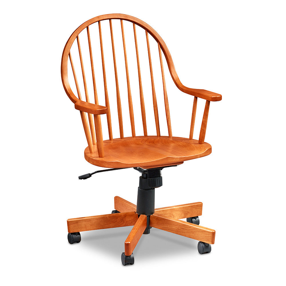 Spindle back continuous arm Windsor style desk chair with wheels in solid cherry wood