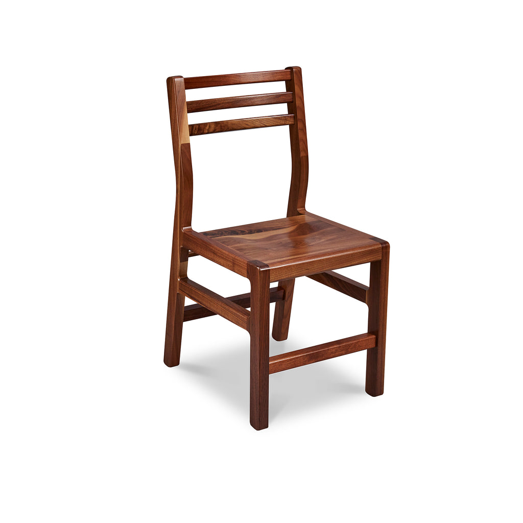 Solid walnut wood chair with ladderback top