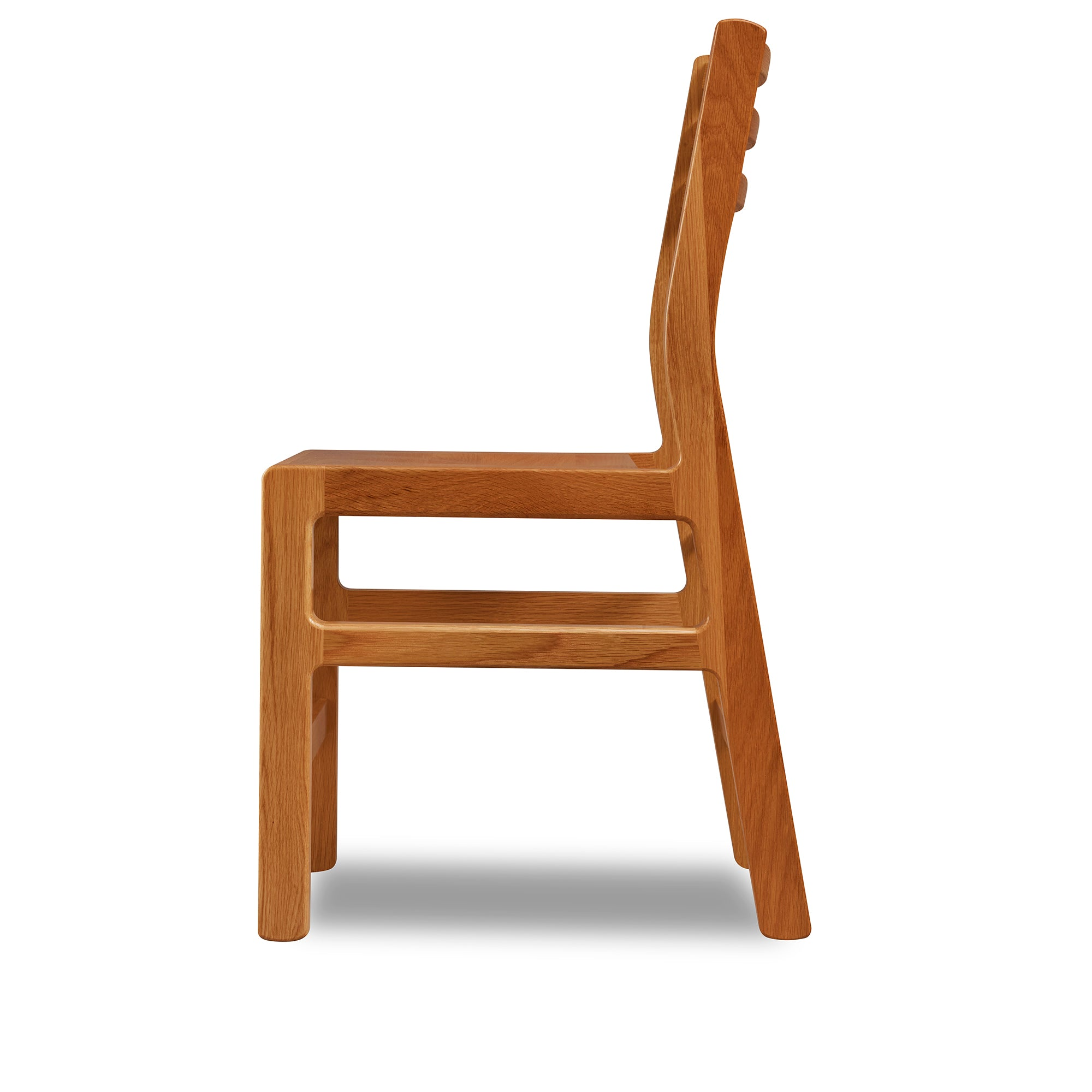 Solid white oak wood chair with ladderback top