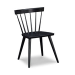 Modern Windsor inspired spindle chair with curved back in painted black
