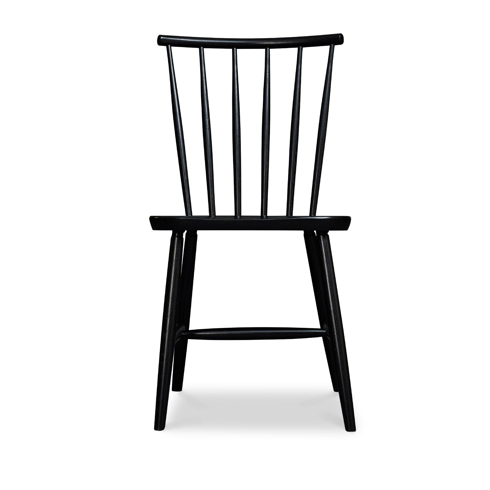 Windsor style chair with round crest in ash painted black