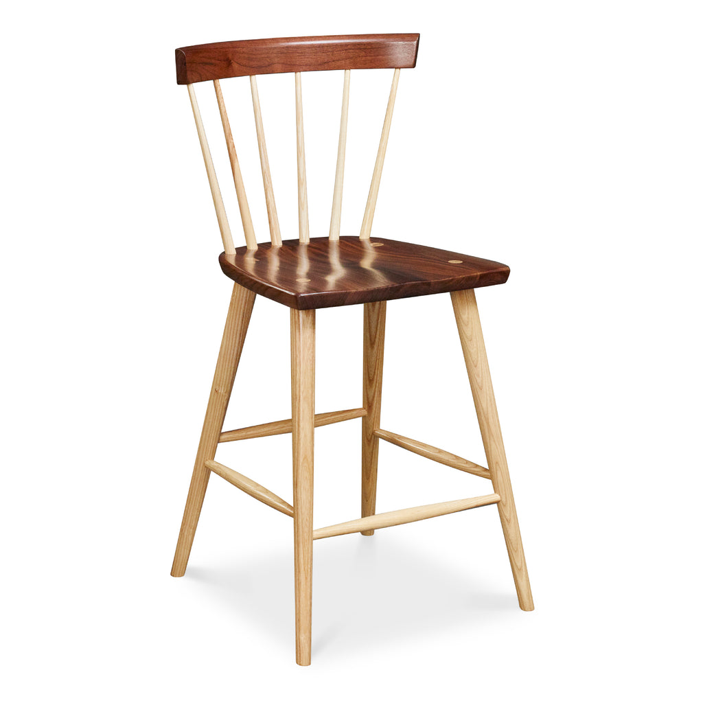 Modern Windsor inspired spindle stool with curved back in walnut and ash