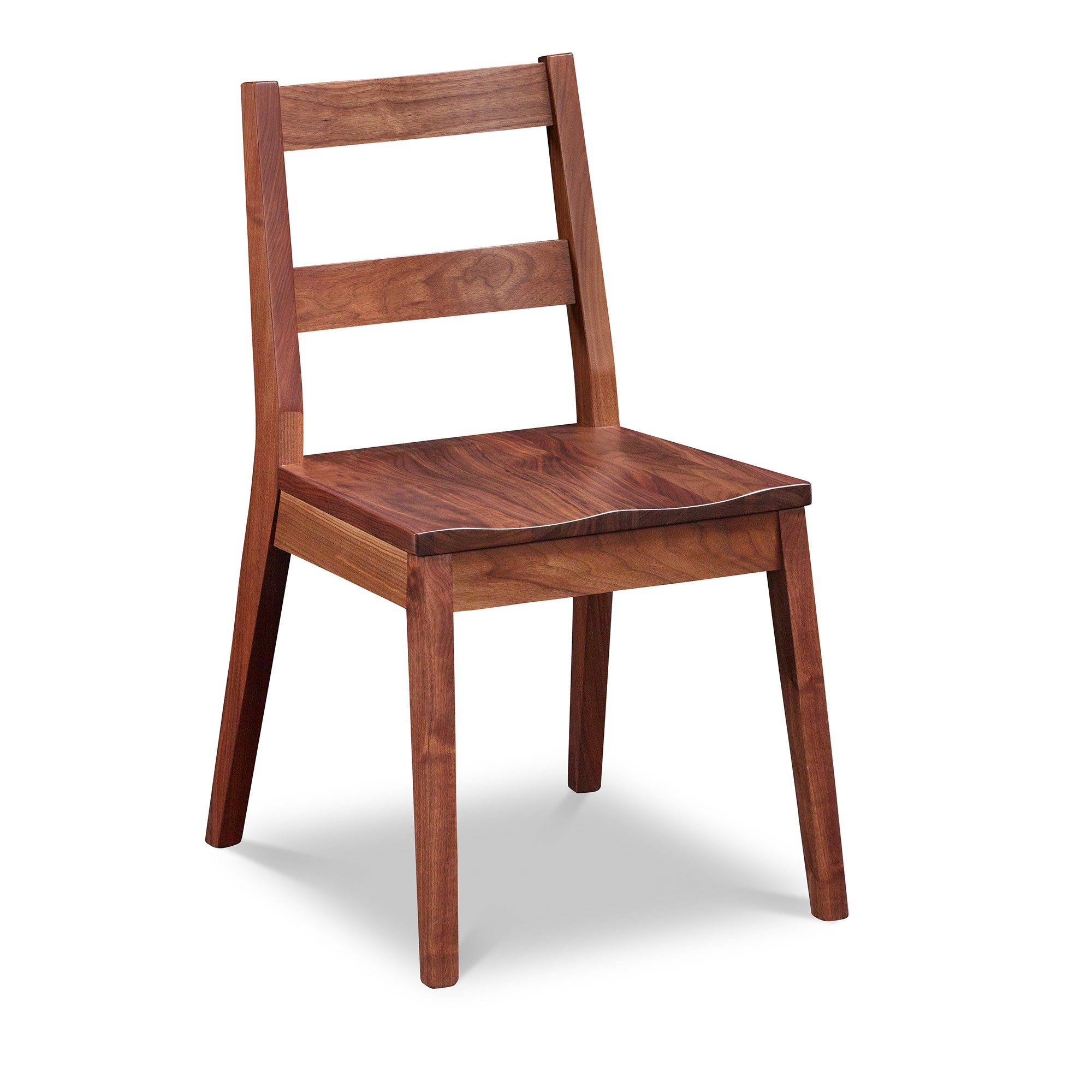 Modern Bridgton side chair with two-slat ladder back in walnut, from Maine's Chilton Furniture Co.