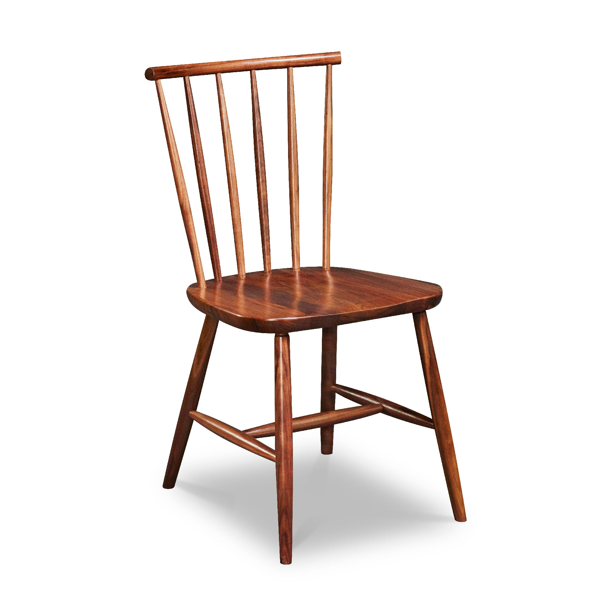 Windsor style chair with round crest in walnut