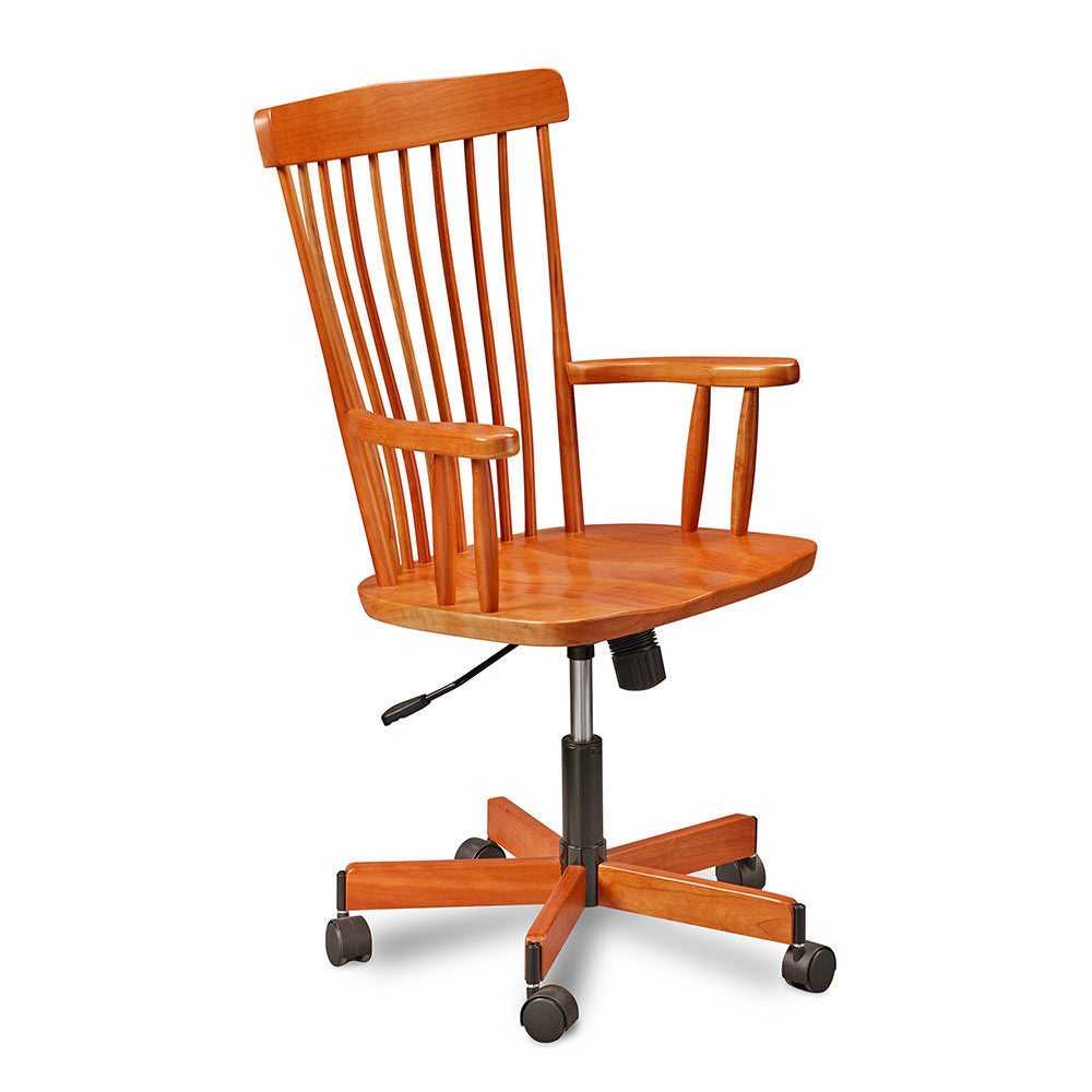 Rolling desk chair in cherry with spindle back and arms and slightly rounded crest