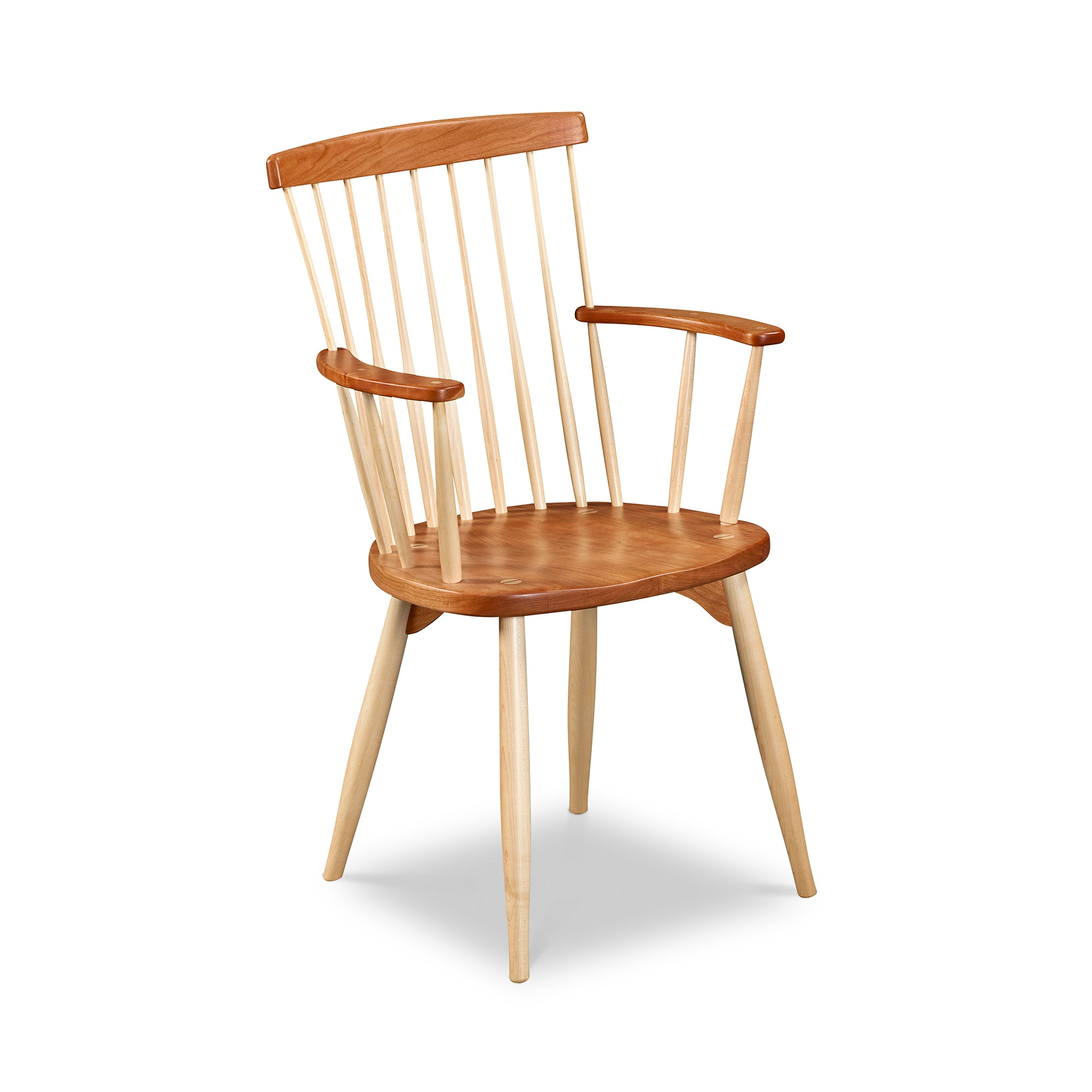 Classic spindle back chair arm chair with round tapered legs in cherry and maple
